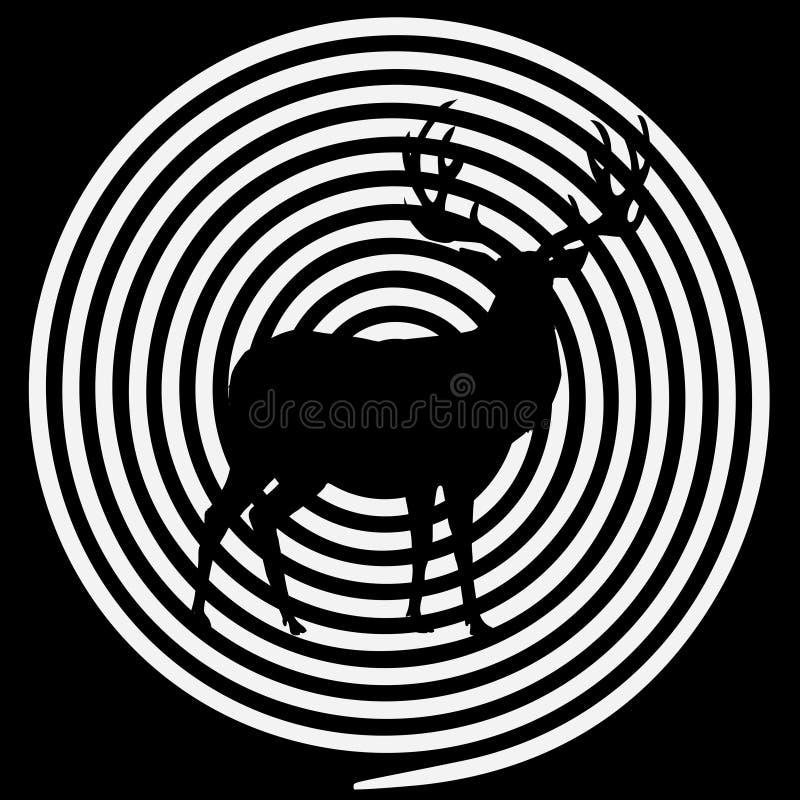 Silhouette de renne avec de grands klaxons sur chasser le fond de but de cible illustration libre de droits