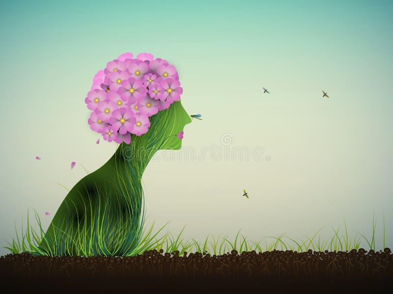 Silhouette de ressort, profil de ressembler de femme au bouquet de l'horticulture rose sur le sol, illustration stock