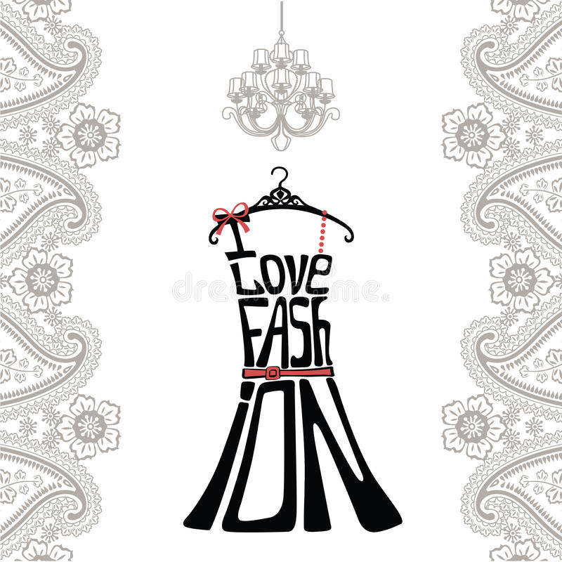 Silhouette de robe de femme des mots et de la frontière de Paisley illustration stock