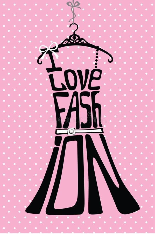 Silhouette de robe de femme des mots sur le fond de point de polka illustration de vecteur