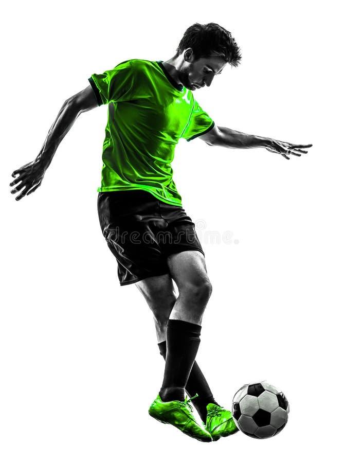 Silhouette de ruissellement de jeune homme de joueur de football du football photos stock