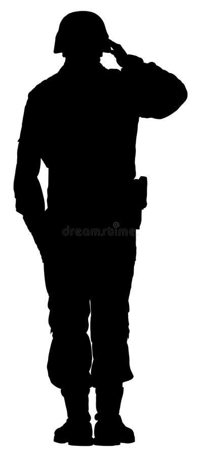 Silhouette de salutation du ` s de soldat d'armée d'isolement sur le fond blanc Jour du Souvenir, jour du ` s de vétéran, 4ème de illustration stock