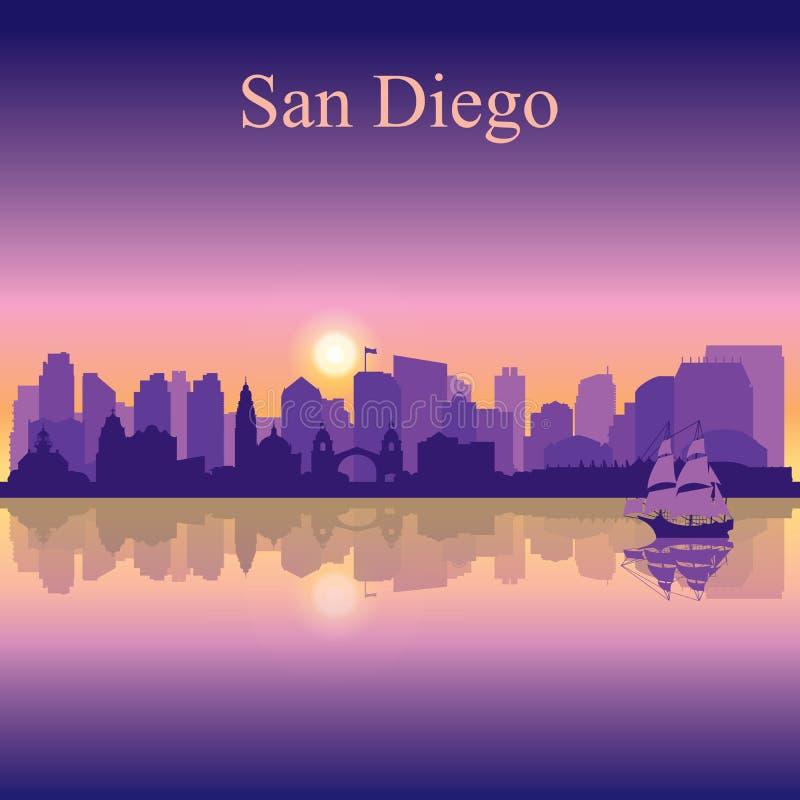 Silhouette de San Diego sur le fond de coucher du soleil illustration libre de droits