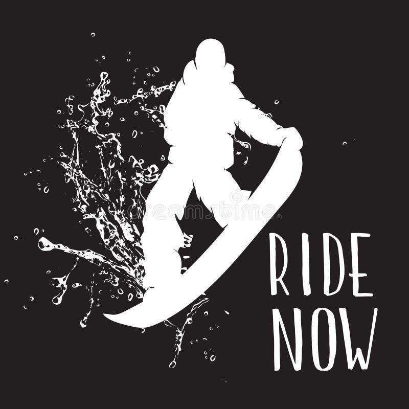 Silhouette de sauter de surfeur d'isolement Dirigez la silhouette d'un surfeur avec le jet de la neige illustration libre de droits