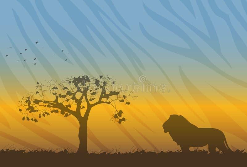 silhouette de savanne de lion d'horizontal illustration libre de droits