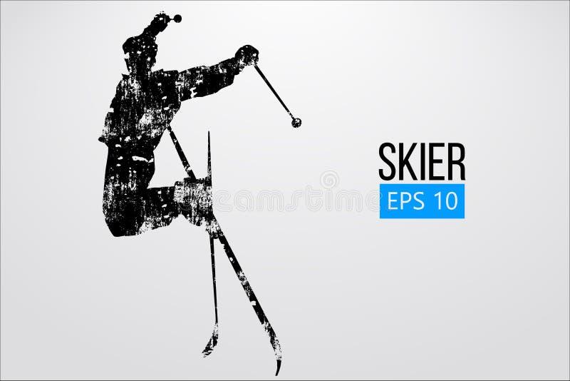 Silhouette de skieur sautant d'isolement Illustration de vecteur