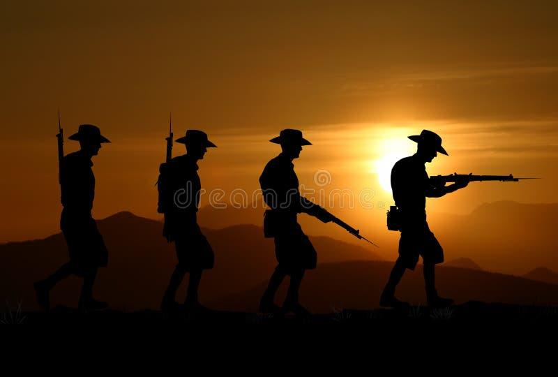 Silhouette de soldats d'ANZAC image libre de droits