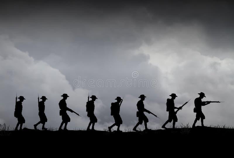 Silhouette de soldats d'ANZAC photographie stock