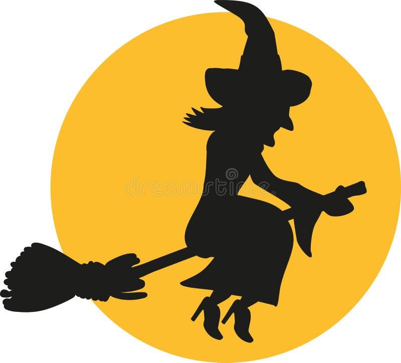 Silhouette de sorcière de vol la nuit devant la lune illustration de vecteur