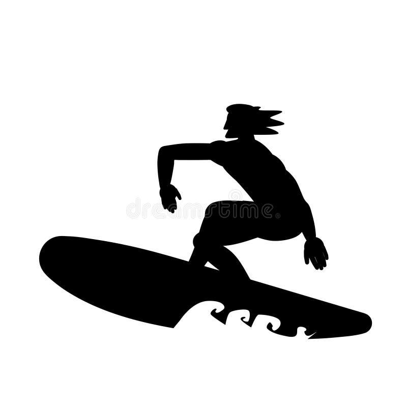 Silhouette de sportif de surfer sur la planche de surf d'isolement sur le fond blanc Illustration noire et blanche de vecteur illustration de vecteur