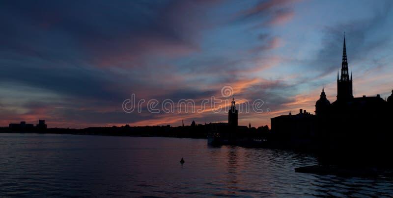 Silhouette de Stockholm, Suède image stock