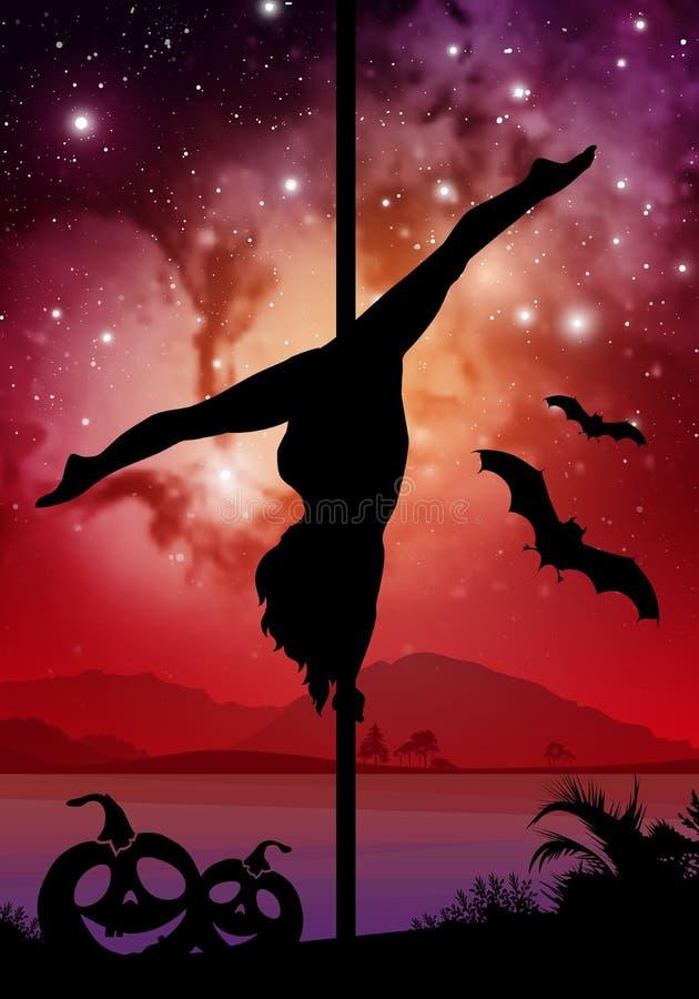 Silhouette de style de Halloween de danseur féminin de poteau l'exécution du poteau se déplace devant la rivière et se tient le p illustration stock