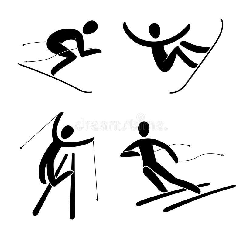 Silhouette de surf des neiges, illustration alpine de vecteur de descendeur de surfeur illustration stock