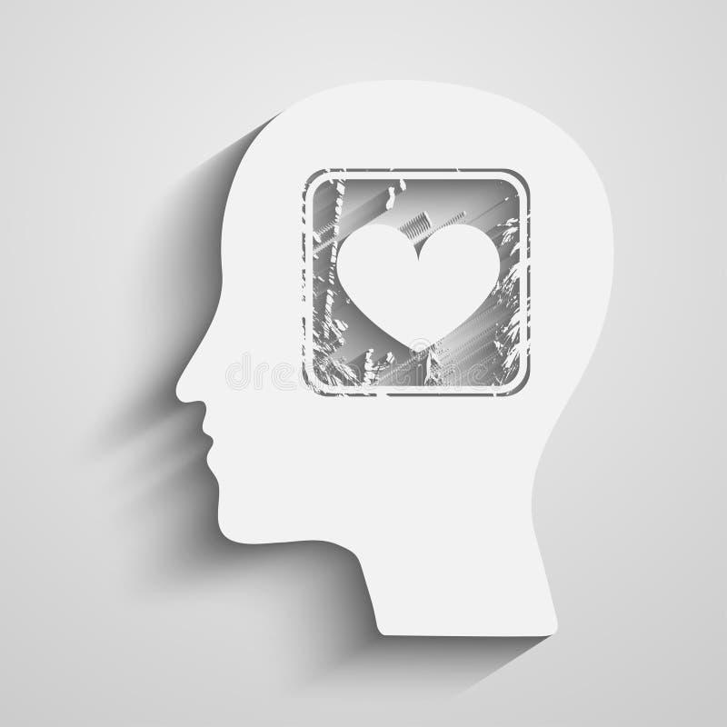 Silhouette de tête avec le symbole de coeur illustration stock