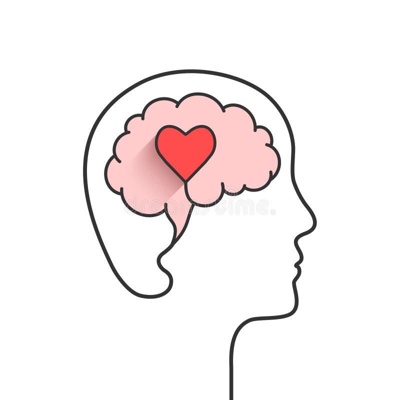 Silhouette de tête humaine et de cerveau avec la forme de coeur illustration de vecteur