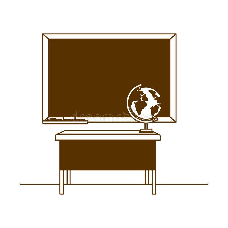 Silhouette de tableau d'école dans la salle de classe illustration de vecteur