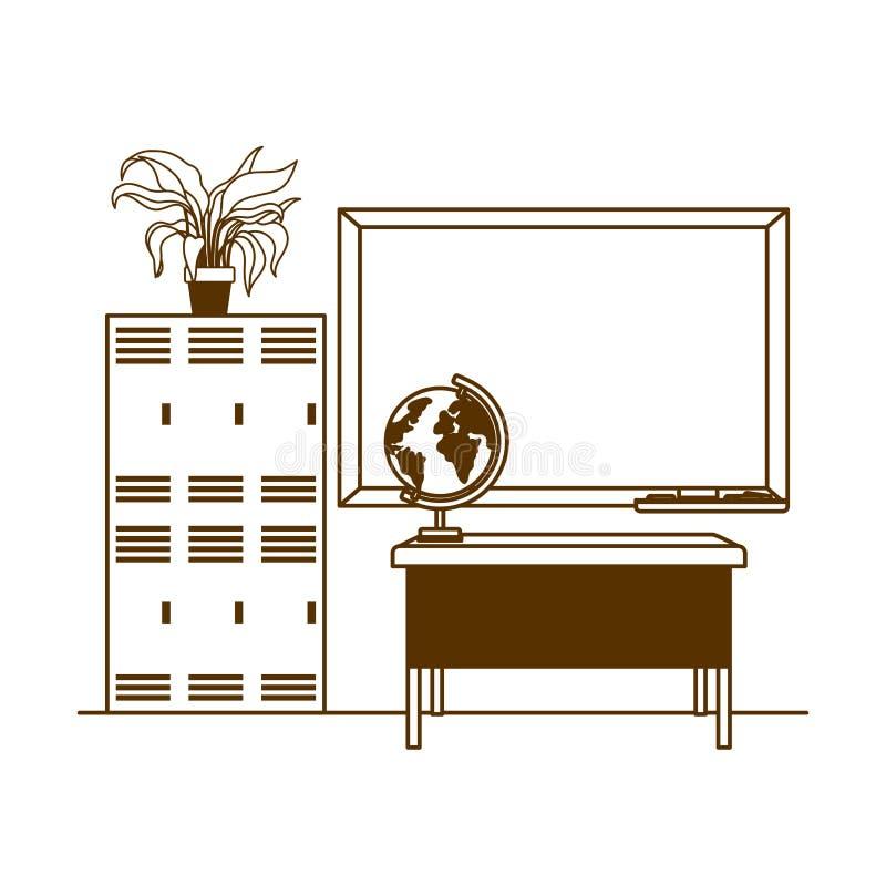Silhouette de tableau d'école dans la salle de classe illustration libre de droits
