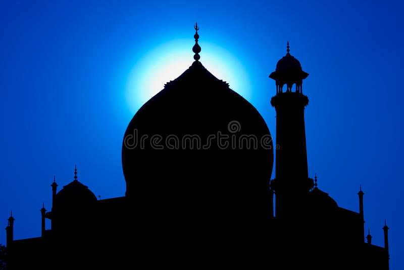 Silhouette de Taj Mahal dans le coucher du soleil, Inde images libres de droits
