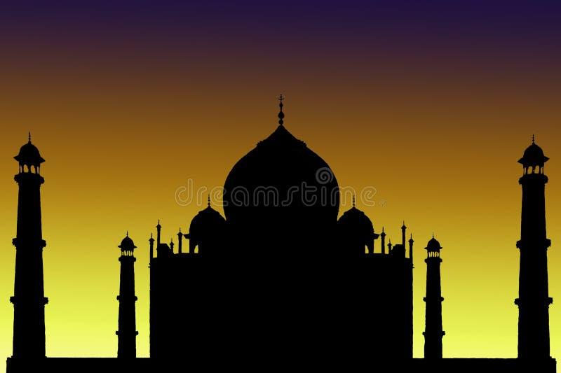 Silhouette de Taj Mahal, Inde photo stock