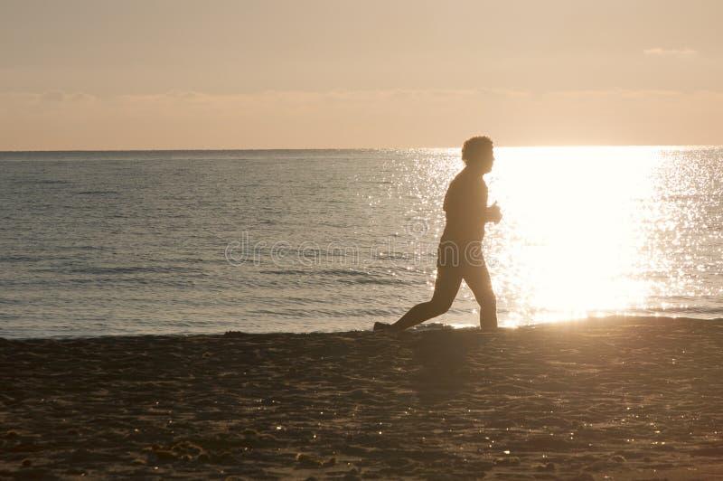Silhouette de taqueuse sur la plage image stock