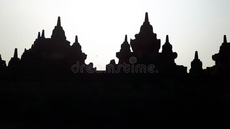 Silhouette de temple de Borobudur image stock