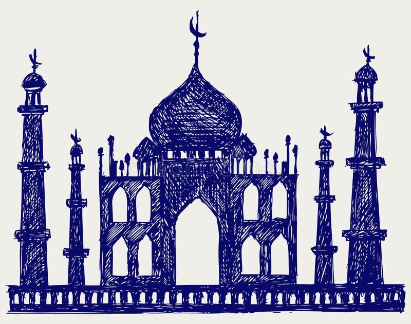 Silhouette de temple de Taj-mahal illustration stock