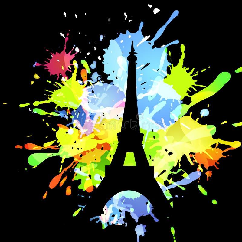 Silhouette de Tour Eiffel sur le fond abstrait illustration libre de droits