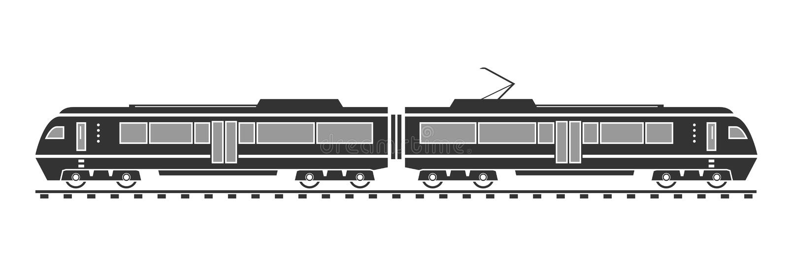 Silhouette de train électrique illustration libre de droits