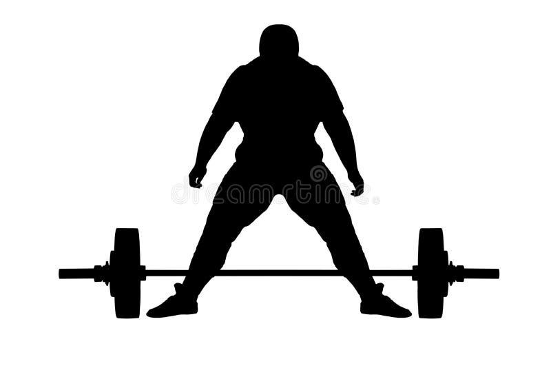 Silhouette de trame d'athlète de poussoir de poids illustration libre de droits