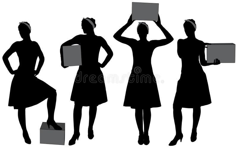 Silhouette de transport de boîte de femme image libre de droits