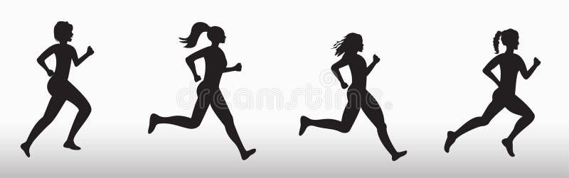 Silhouette de trois femmes courantes illustration stock