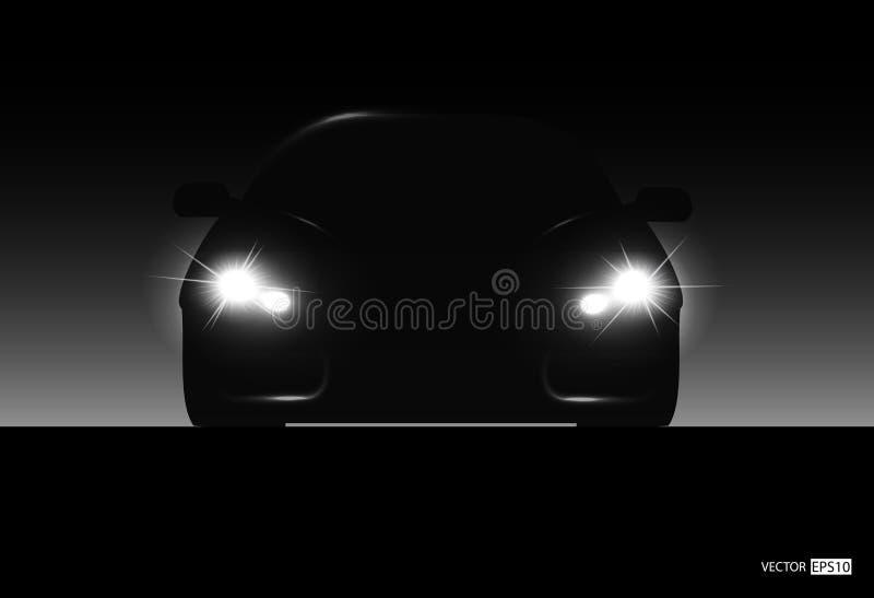 Silhouette de véhicule avec des phares illustration libre de droits