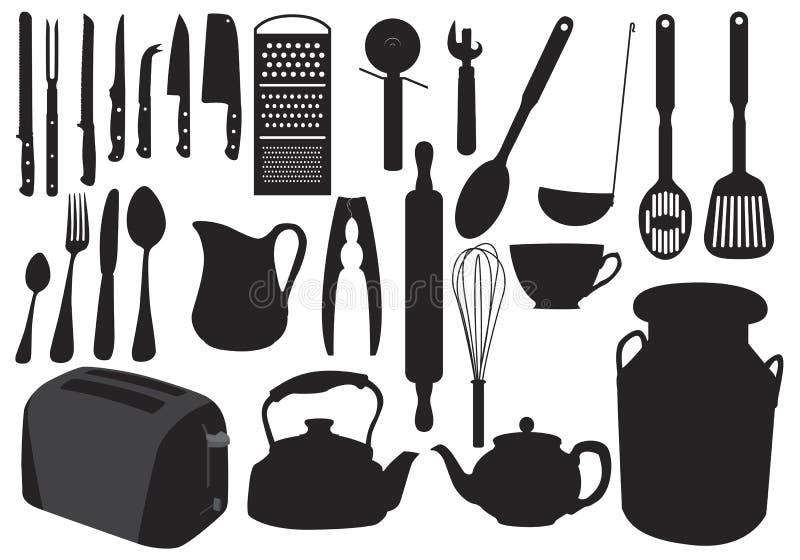 silhouette de vaisselle de cuisine illustration stock