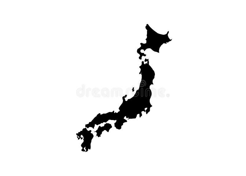 Silhouette de vecteur de carte d'état du Japon illustration stock