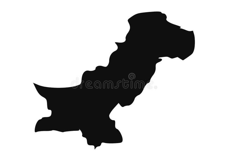 Silhouette de vecteur de carte d'état du Pakistan illustration libre de droits