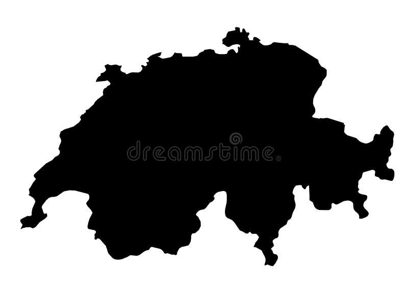 Silhouette de vecteur de carte d'état de la Suisse illustration de vecteur