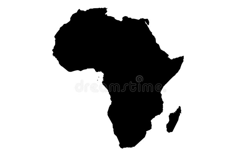 Silhouette de vecteur de carte de l'Afrique illustration libre de droits