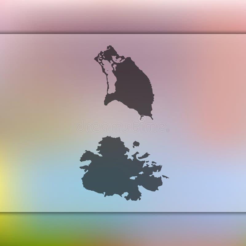 Silhouette de vecteur de carte de l'Antigua-et-Barbuda Fond brouillé illustration de vecteur