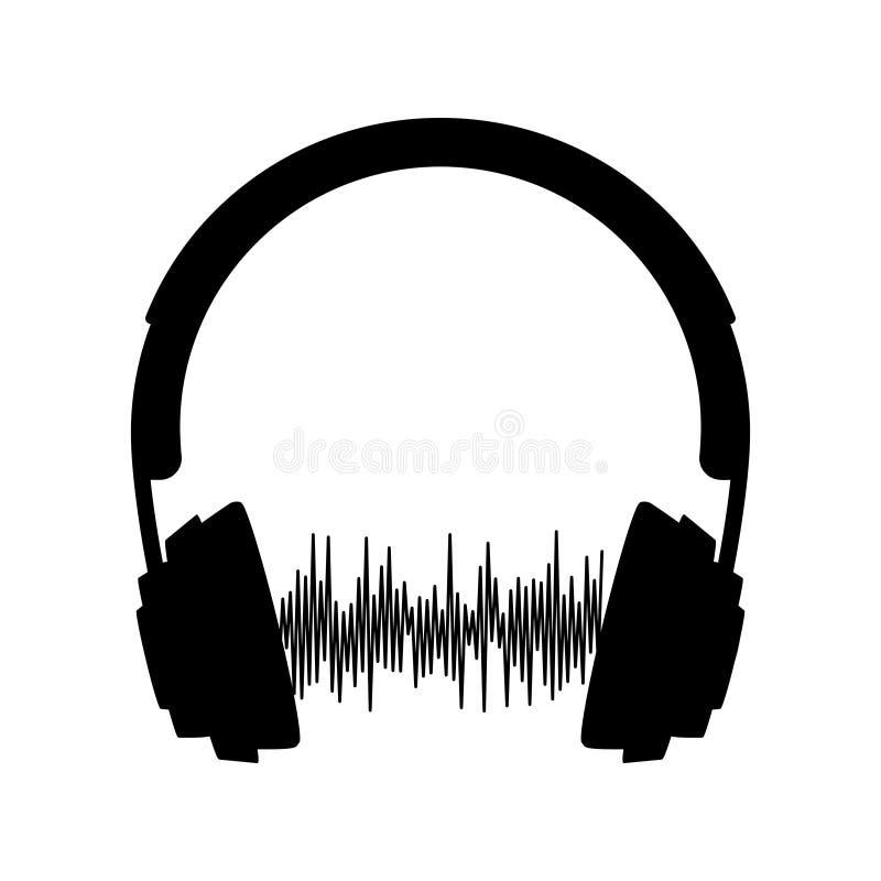 Silhouette de vecteur d'écouteur avec l'onde sonore d'isolement sur le fond blanc illustration de vecteur
