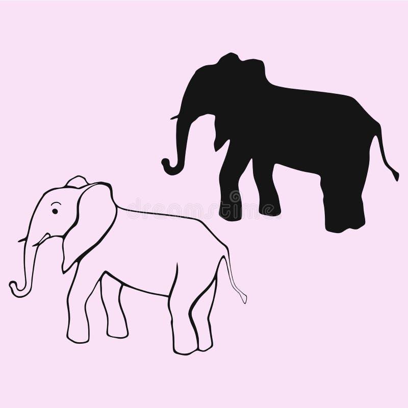 Silhouette de vecteur d'éléphant d'isolement images libres de droits