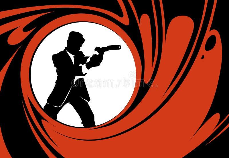 Silhouette de vecteur d'agent secret ou d'espion illustration libre de droits