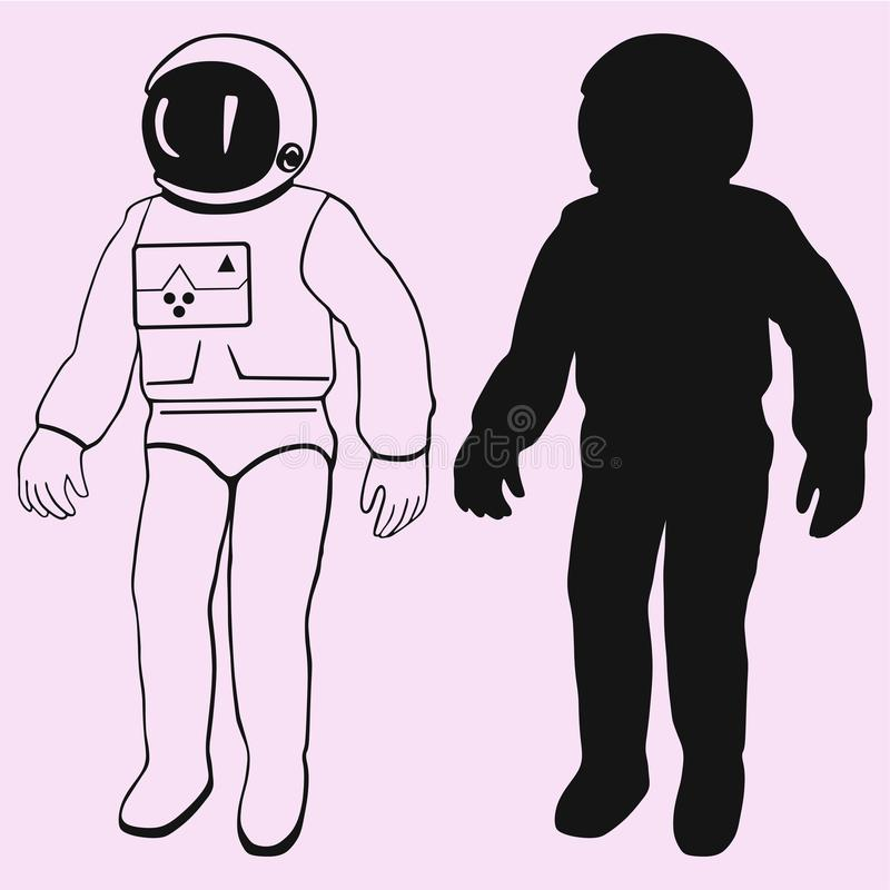 Silhouette de vecteur d'astronaute d'isolement image libre de droits
