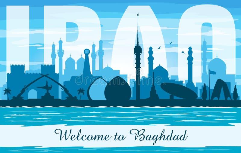 Silhouette de vecteur d'horizon de ville de Bagdad Irak illustration stock