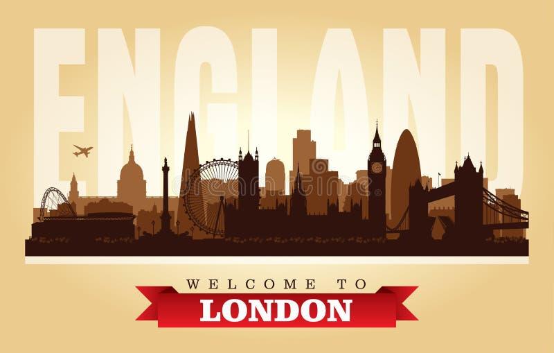 Silhouette de vecteur d'horizon de ville de Londres Royaume-Uni illustration libre de droits