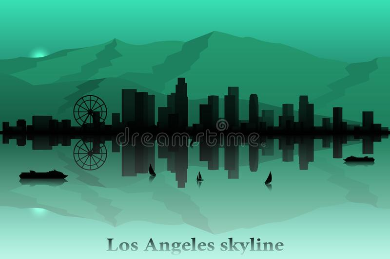 Silhouette de vecteur d'horizon de ville de Los Angeles illustration stock