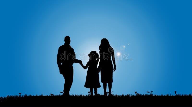 Silhouette de vecteur d'une famille illustration de vecteur