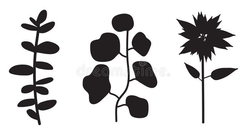 Silhouette de vecteur d'usine de fleur illustration libre de droits