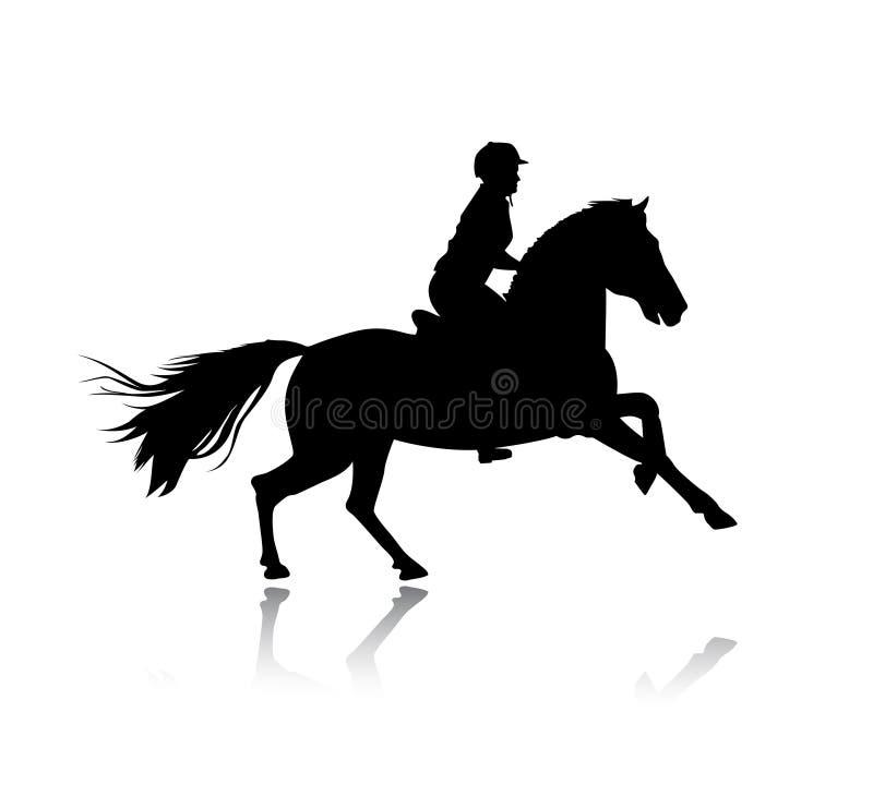 Silhouette de vecteur de course de chevaux. photos stock