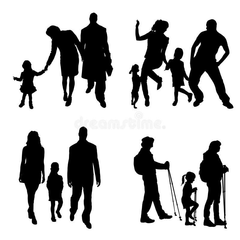 Silhouette de vecteur de famille illustration stock