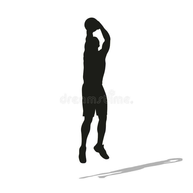 Silhouette de vecteur de joueur de basket de tir illustration stock